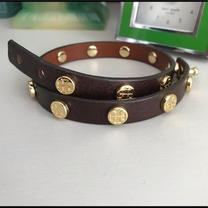 Tory Burch double wrap leather bracelet brown EUC